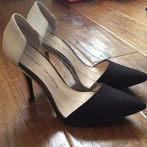 Serendipity black, clear and gold pumps Sz 8